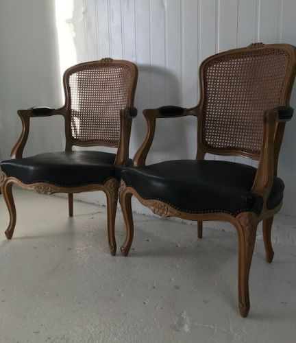 Pair of Lovely Vintage French Cane Back Chairs - sj12